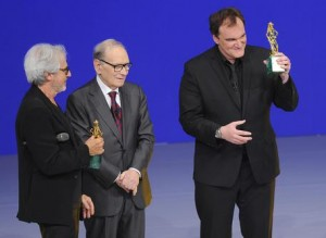 Left to right Tullio Solenghi, Ennio Morricone and US director Quentin Tarantino during 'David di Donatello' awards, at 'Teatro Olimpico' in Rome, 12 June 2015. Tarantino picks up two best foreign-film David di Donatello awards he never got around to receiving, for Pulp Fiction and Django Unchained. ANSA/GIORGIO ONORATI