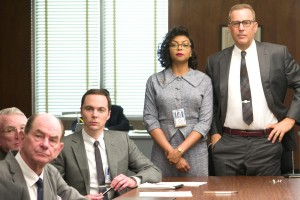 HF-207 - Jim Parsons as Paul Stafford, Taraji P. Henson as Katherine G. Johnson, and Kevin Costner as Al Harrison in HIDDEN FIGURES. Photo Credit: Hopper Stone.
